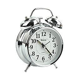 Mokeep Alarm Clock for Heavy Sleepers 4 Twin Bell Vintage Alarm Clock with Backlight, Silent Sweep Seconds Desk Clock for Bedroom, Battery Operated Loud Alarm Clock