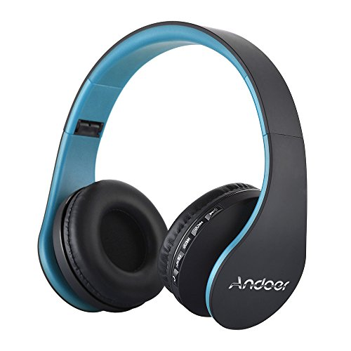 Over Ear Headphone, Andoer LH-811 Wireless Stereo Bluetooth 4.1 Earphone Headset Mic MP3 Player TF Music FM with 3.5mm Audio Cord for Smart Phones Tablet PC Notebook(Blue)