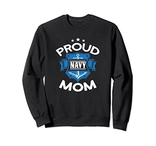 Unisex US Navy Crewneck Sweatshirt - Proud Navy Mom 2XL Black (Us Navy Mom Sweatshirt)