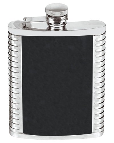 (6 Ounce Stainless Steel Hip Flask Ribbed and Leather Design Black in an Attractive Gift Box)