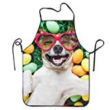 Jerry Warner Cool Apron Funny Humor Dog Smile Sunglasses Easter Egg Professional Bib Apron for Women Men Adults Waterproof Natural Cooking Aprons White Aprons for Women