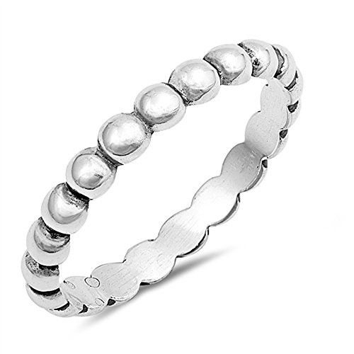 - CloseoutWarehouse Sterling Silver Beaded Band Stackable Ring Size 7