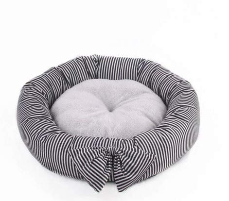 Cute Bow Round Kennel Teddy Small and Medium Dog pet nest mat cat Litter (color   Black and White)