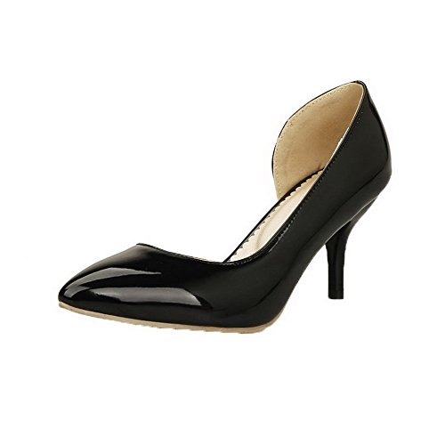 Odomolor Women's Kitten-Heels Patent Leather Solid Pull-On Closed-Toe Pumps-Shoes, Black, 42