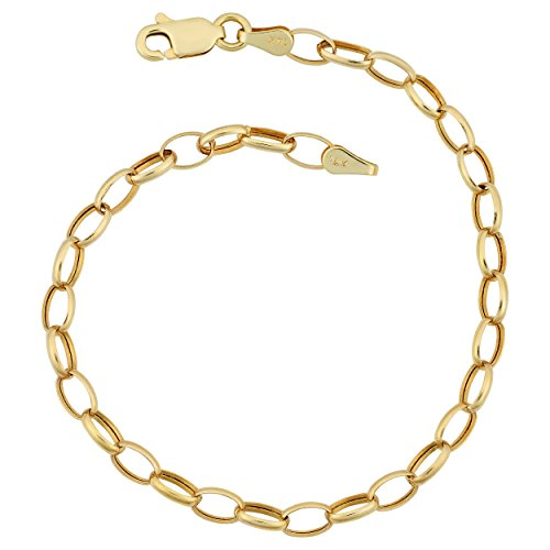 Kooljewelry 14k Yellow Gold 4 mm Oval Links Rolo Chain Bracelet (7 inch)