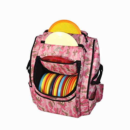 FITactic Luxury Frisbee Disc Golf Bag Backpack (Capacity: 25-30 Discs, Pink Woodland Camouflage)