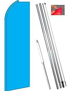 Sólido Cian (luz azul) Flutter bandera de estandarte de la pluma Kit (bandera, poste, y tierra MT)