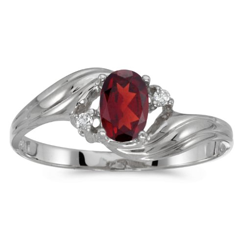 Gold White Garnet Ring (10k White Gold Oval Garnet And Diamond Ring (Size 8.5))
