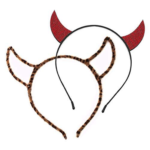vogueknock Devil Horns Halloween Headband Faux Rhinestone Horn Costume Cat Ear Headband for Women Girls (Red+Brown(2pcs -