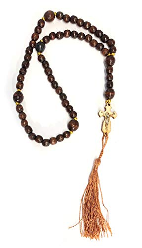 Religious Gifts Wooden Prayer Beads 50 Knots with Byzantine Cross Crucifix 14 1/2 Inch ()
