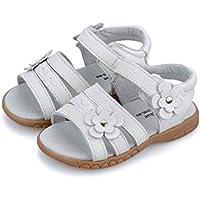 Girls Open White Leather Sandal