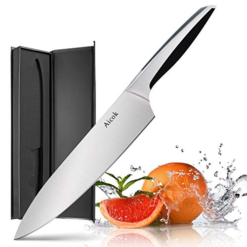 Chef Knife - Aicok Pro Kitchen Knife 8 Inch Chefs Knife N1 German High Carbon Stainless Steel Knife with Ergonomic Handle, Ultra Sharp, Best Choice for Home Kitchen and Restaurant