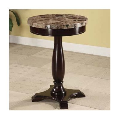 Image of ADF Round Table Marble Veneer Top and Espresso Base
