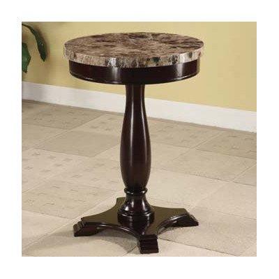 ADF Round Table Marble Veneer Top and Espresso Base (Espresso Marble Top)
