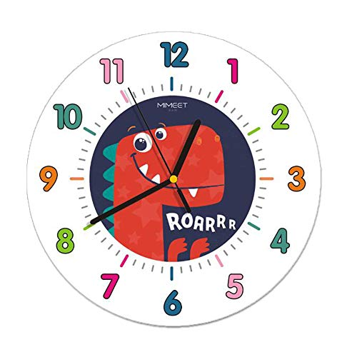 JUSTUP Silent Kids Wall Clock, 12in Non-Ticking Dinosaur Large Decorative Wall Clock Battery Operated Colorful Number Easy to Read for Kids Living Room Classroom Red