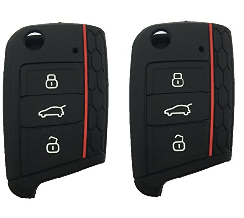 - Keyless Entry Remote Key Fob Skin Cover Protective Silicone Rubber key Jacket Protector for VW Volkswagen Golf 7/GTI 7/Golf R R20/MK7 MKVII (Black-2 Pack)