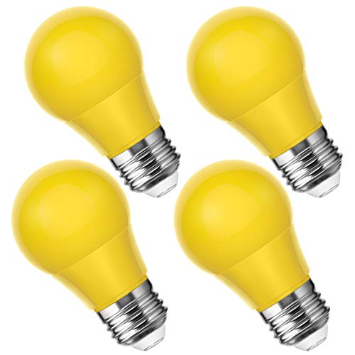 Smartinliving A15 Yellow Light Bulbs, 25W Equivalent Led Bulb, E26 Medium Base, 4W Led Yellow Bug Light Bulb, Perfect for Party Light, Halloween Decorative, Not Dimmable, 4 Pack]()