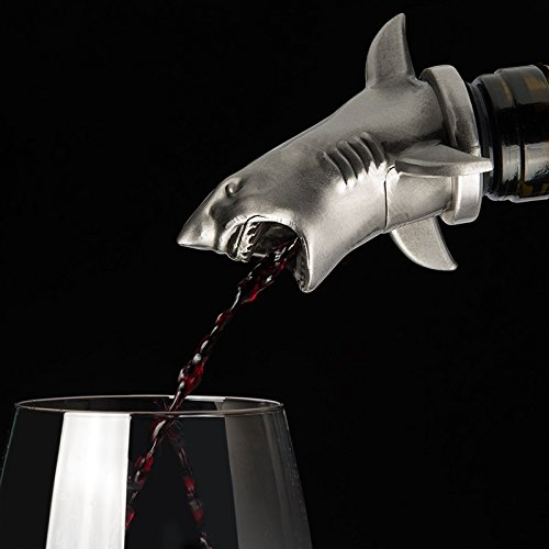 Stainless Steel Shark Wine Aerator Pourer - Deluxe Decanter Spout for Robust Red and White Wine - Pour Amore Bottle Pourer/Stopper & Air Diffuser by Chris's Stuff