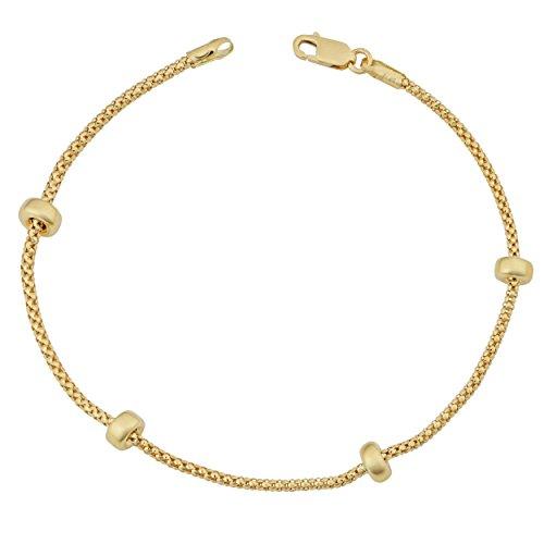 Kooljewelry 18k Yellow Gold High Polish Bead Station Bracelet (7.5 inch)