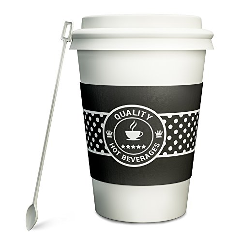Hornbit Double Wall Insulated Disposable Paper Coffee Cup with Lid, Sleeve and Stirrer, Pack of 50, 12 Ounce, White Polka Dots Design
