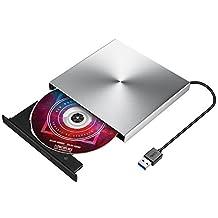 USB 3.0 External DVD Drive, TOPELEK Ultra Slim USB 3.0 CD Driver, Portable DVD Writer/Burner, External Optical Drive for Windows Mac OS Laptop PC Computer