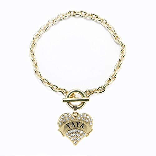 Inspired Silver - Yaya Toggle Charm Bracelet for Women - Gold Pave Heart Charm Toggle Bracelet with Cubic Zirconia Jewelry
