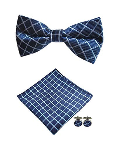 - Men's Navy Blue Plaid Bow Tie Set Adult Formal Sunny Boy Bowties Dad Father Gift