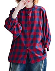Baugger Vintage Women Shirt Plaid Print Stand Collar Long Sleeve Batwing Sleeve Single-Breasted Casual Autumn Blouse