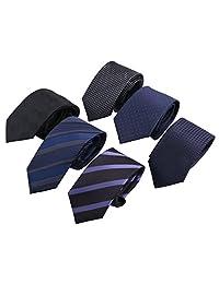 Driew Men's Formal Zipper Tie Elegant Pattern Necktie Pack of 6