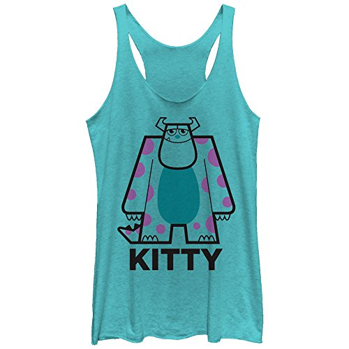Fifth Sun Monsters Inc Women's Sulley Kitty Tahiti Blue Racerback Tank Top Kitty Shirt Top