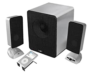 Cyber Acoustics 3 pc Brushed Aluminum Series Speakers CA-3618