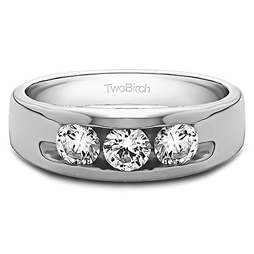 - 14k White Gold Mens Wedding Band Charles Colvard Moissanite(0.33Ct) Size 3 To 15 in 1/4 Size Intervals