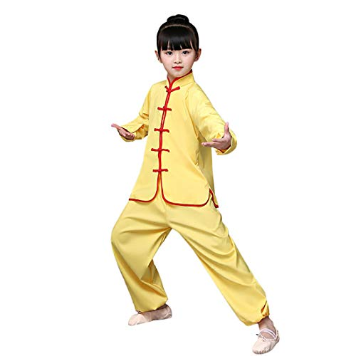 """Kids Kung Fu Suit Tai Chi Uniform Chinese Martial Art Wing Chun Taichi Clothing Set Performance Wear for Boys and Girls (Yellow(Long Sleeve), XL(Height 49-53""""))"""