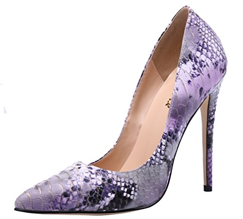 AOOAR Women's Snakeskin-Print High Heel Colorful L-Purple PU Dress Pumps 6 M US