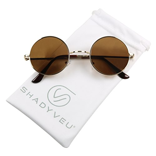ShadyVEU - Retro Colorful Tint Lennon Style Round Groovy Hippie Wire Sunglasses (Brown Lens, 50)