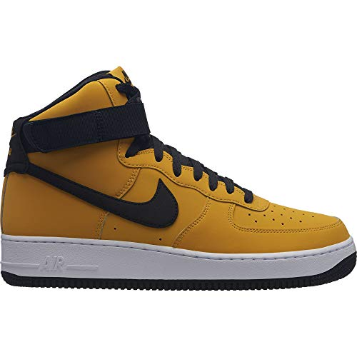 Nike Men's Air Force 1 High '07 Leather Basketball Shoe, Yellow Ochre/Black-White, 9 - Mid 07 Mens Shoes
