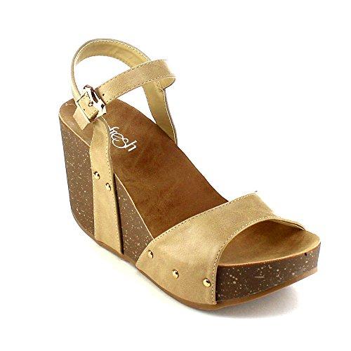 Platform Shoes Stud Cork - Women's Platform Wedge Sandals Comfort Thick Cork Board Sandal Buckle Summer Shoes MR06 Taupe 7