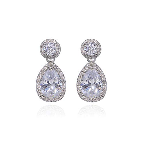 Pear Shaped Crystal - Small Cubic Zirconia Bridal Earrings 14k white Gold Plated Teardrop Dangle Earrings Sterling Silver Double Halo Pear Shaped Crystal CZ Drop Earrings for Wedding Bride Bridesmaids Gift Gala Earring