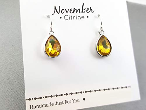 November Birthstone Earrings - Citrine Crystal Sterling Silver Teardrop Earrings - Gift for Her