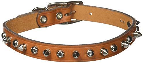 - Coastal Circle T 5/8' Tan Spiked Leather Dog Collar - 16 in