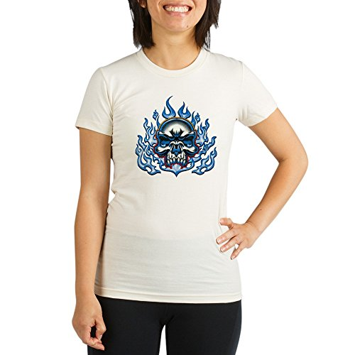 Royal Lion Organic Womens Fitted T-Shirt Skull in Blue Flames - Large