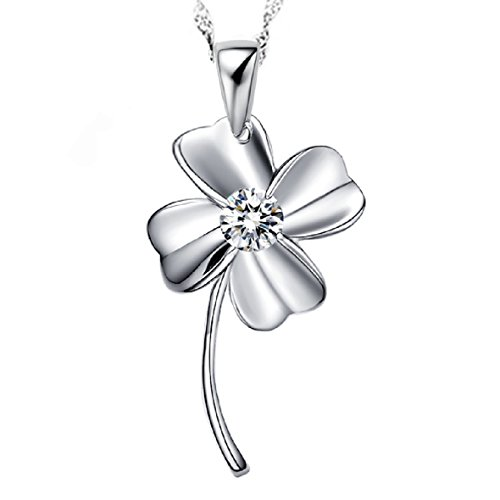 Clovers Cheer Costume (Good Luck Four Leaf Clover Sterling Silver Pendant Necklace)