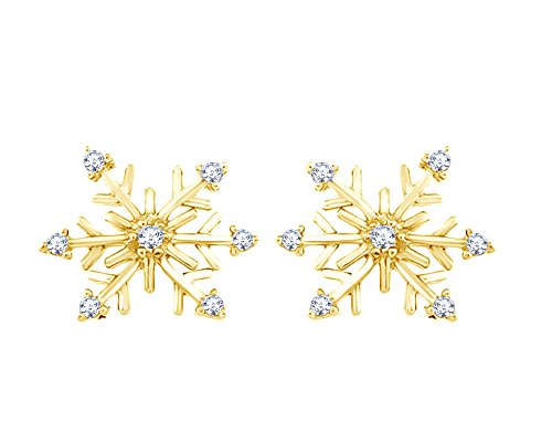 Round Cut Natural Diamond Snowflake Stud Earrings In 14K Yellow Gold Over Sterling Silver (1/10 - Diamond Snowflake Gold Earrings