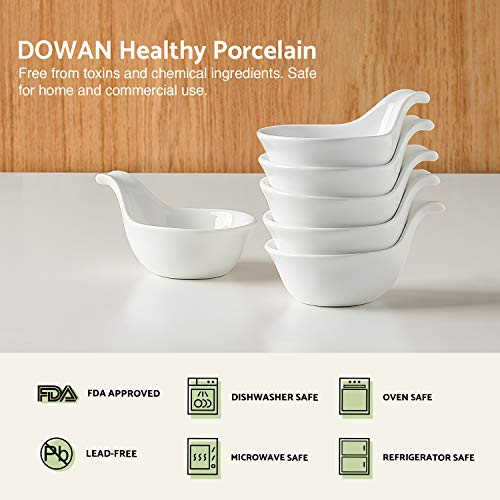 DOWAN 3oz Porcelain Dipping Bowls/Soy Sauce Dishes/Appetizer Spoons - 6 Packs, White, Stackable Ramekins with Grip Handle by DOWAN (Image #2)