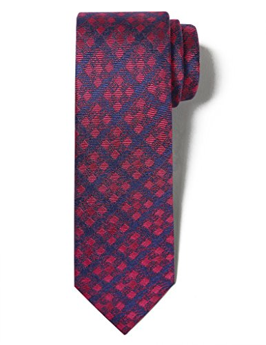 Origin Ties Men's Fashion 100% Silk Handmade Chequered Gingham First-Dating 2.25 Skinny Tie Red