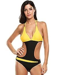Ekouaer Womens One Piece Swimsuit Sexy Hollow Out V Neck Cross Back Monokini
