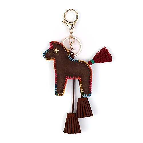 Horse Key Ring Chain, Nikang Handmade Leather Key Holder Metal Chain Charm With Tassels, Tassel Key Chain, Handbag Accessories, Purse Pendant, Fashion Item, Car Key Chain, Idea for Woman, (Horse Small Keychain)