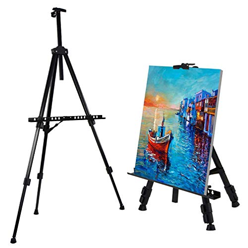 Easel Stand Amzdeal Drawing Easel Tripod Display Easel 21'' to 63'' Adjustable Height with Portable Bag for Floor/Table Top Drawing and Displaying Aluminium Black A1 A2 A3 Canvas by amzdeal