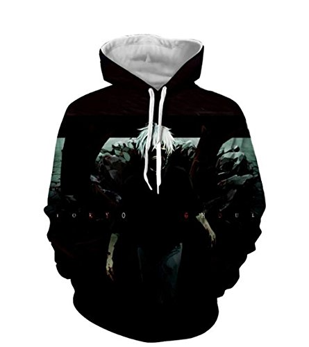 DreamAndReality Unisex Hoodies Tokyo Ghouls Ken Kaneki 3D Print Pullover Sportswear Sweatshirt Tops 256