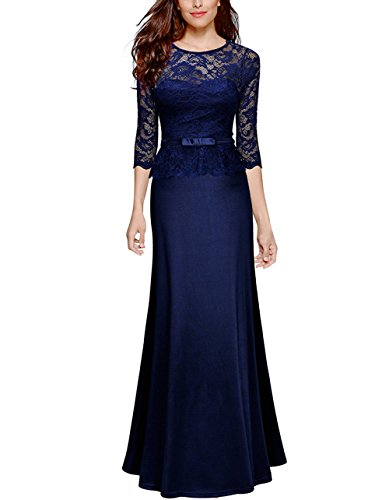 49a7536ac7b AKENA Women s Retro Floral Lace 2 3 Sleeve Slim Peplum Vintage Wedding Maxi  Dress Formal Evening Party Long Dress .